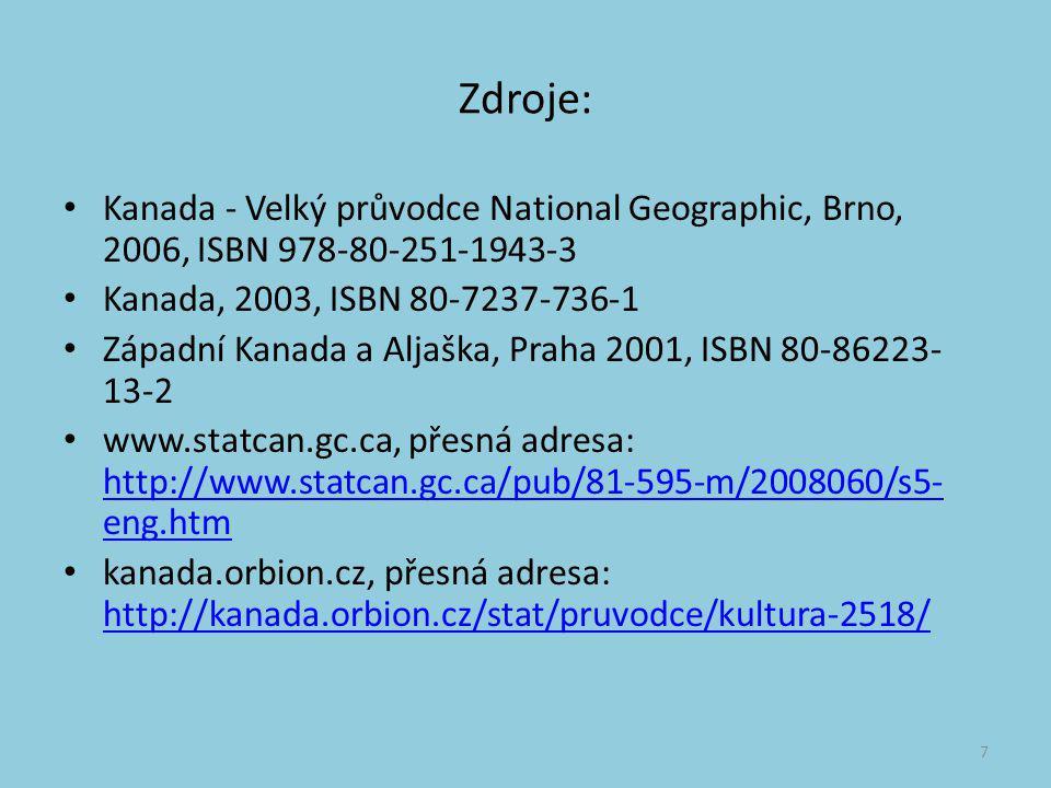 Zdroje: Kanada - Velký průvodce National Geographic, Brno, 2006, ISBN 978-80-251-1943-3. Kanada, 2003, ISBN 80-7237-736-1.