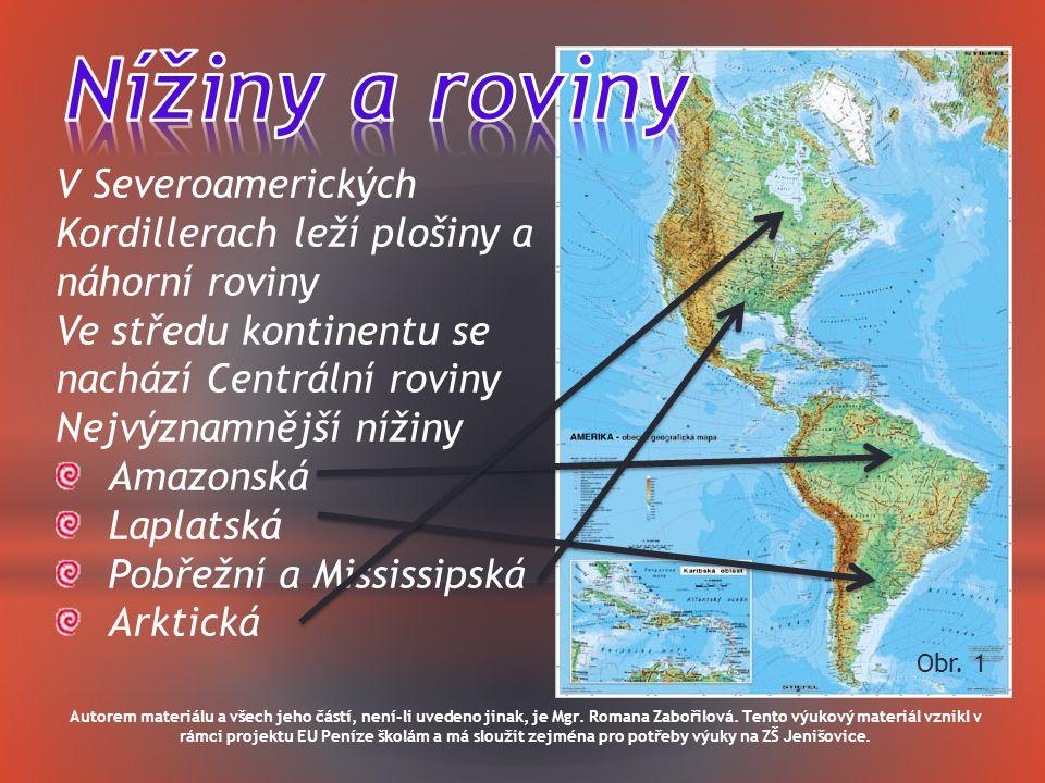 Nížiny a roviny V Severoamerických Kordillerach leží plošiny a náhorní roviny. Ve středu kontinentu se nachází Centrální roviny.