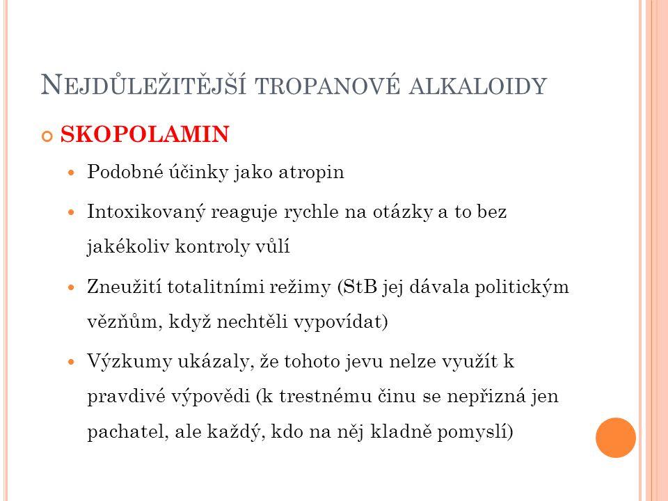 Nejdůležitější tropanové alkaloidy