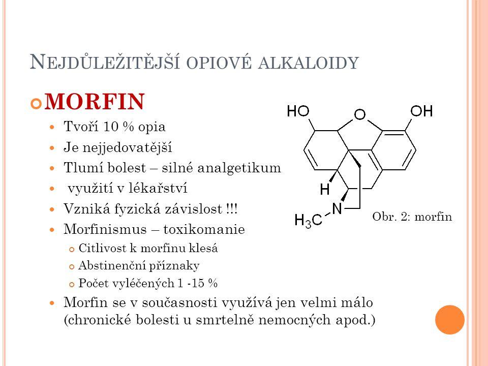 Nejdůležitější opiové alkaloidy