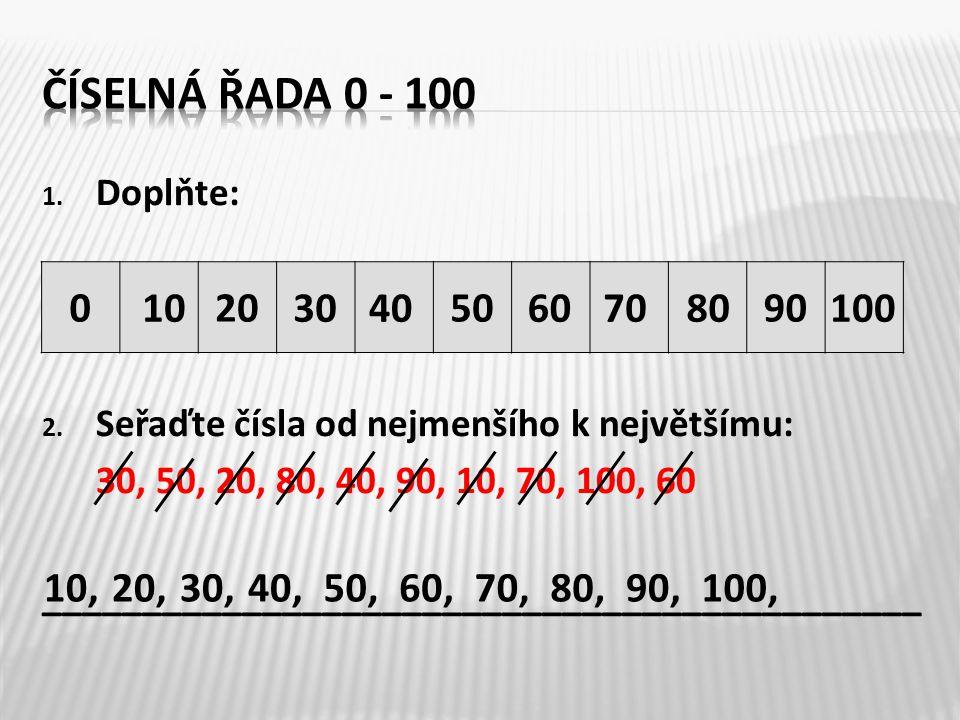 Číselná řada 0 - 100 Doplňte: Seřaďte čísla od nejmenšího k největšímu: 30, 50, 20, 80, 40, 90, 10, 70, 100, 60.