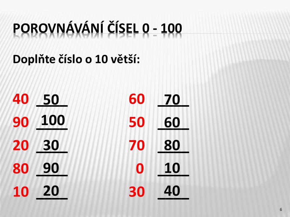40 ____ 60 ____ 90 ____ 50 ____ 20 ____ 70 ____ 80 ____ 0 ____