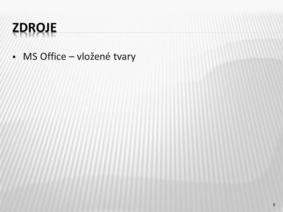 ZDROJE MS Office – vložené tvary