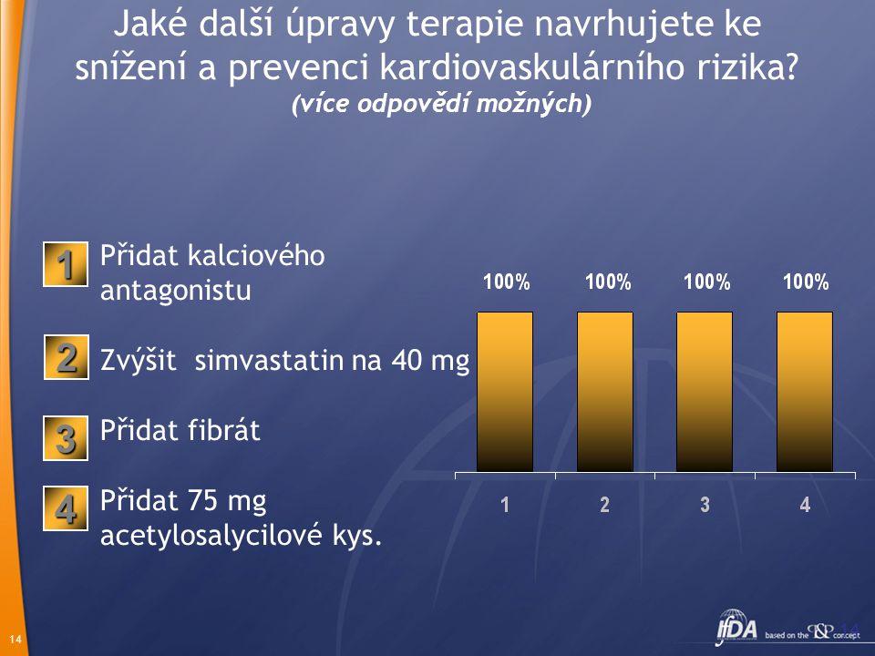 Jaké další úpravy terapie navrhujete ke snížení a prevenci kardiovaskulárního rizika (více odpovědí možných)