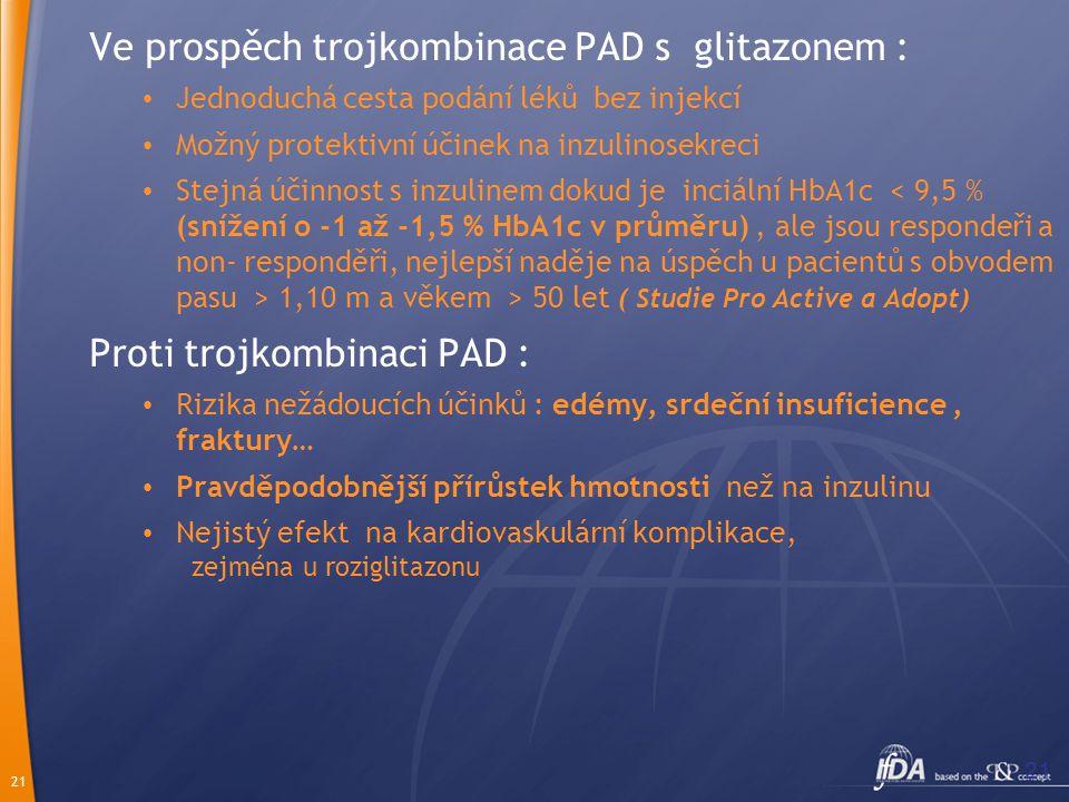 Ve prospěch trojkombinace PAD s glitazonem :