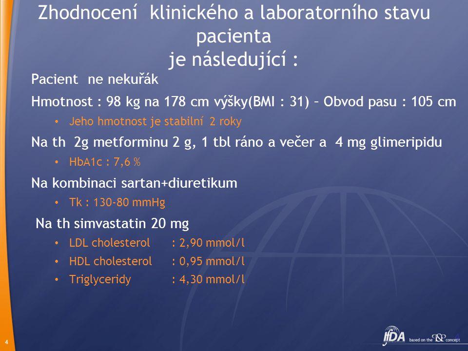 Zhodnocení klinického a laboratorního stavu pacienta je následující :