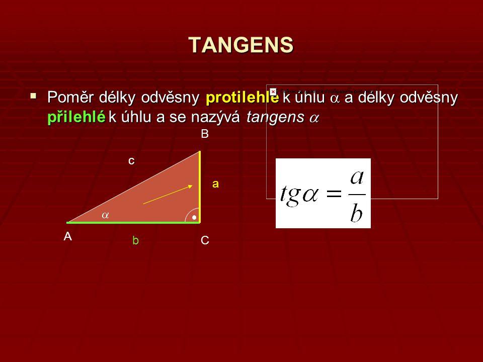 TANGENS Poměr délky odvěsny protilehlé k úhlu a a délky odvěsny přilehlé k úhlu a se nazývá tangens a.