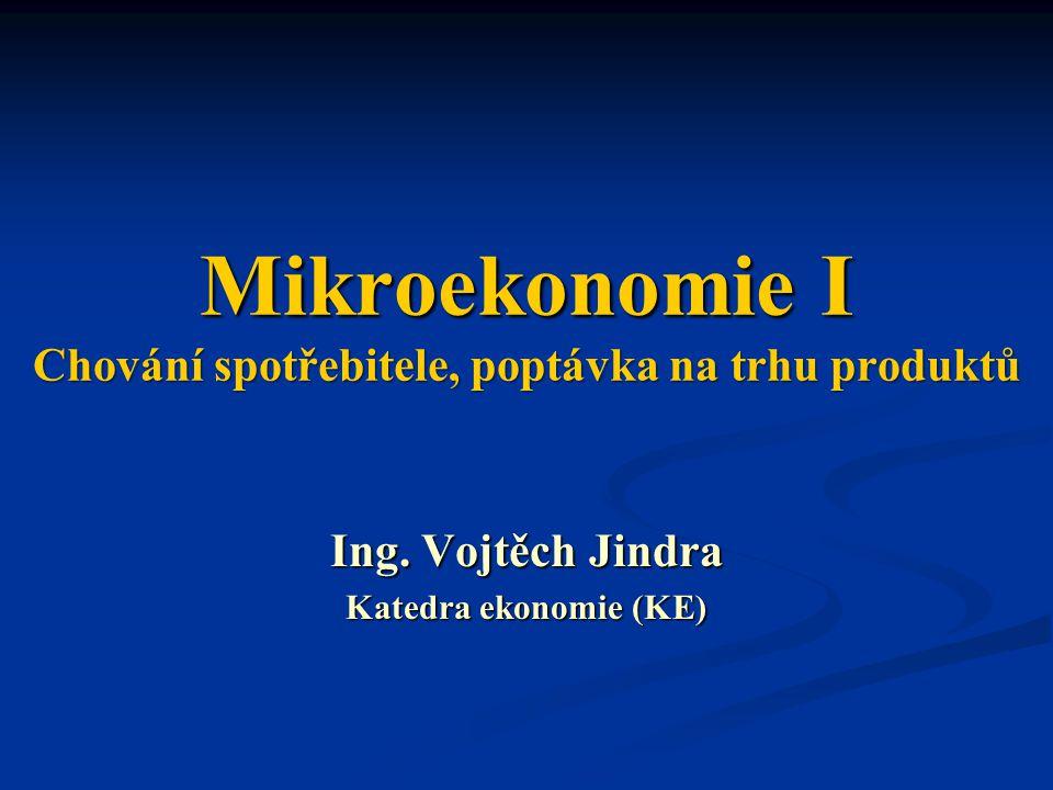 Mikroekonomie I Chování spotřebitele, poptávka na trhu produktů