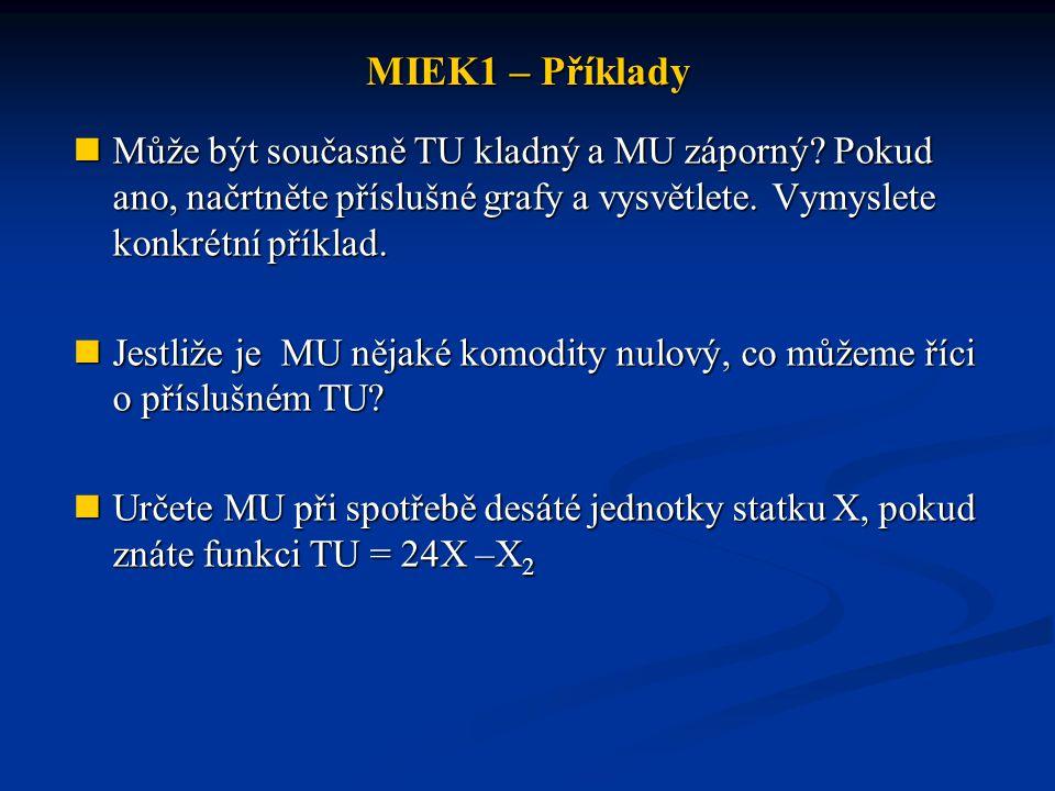 MIEK1 – Příklady Může být současně TU kladný a MU záporný Pokud ano, načrtněte příslušné grafy a vysvětlete. Vymyslete konkrétní příklad.