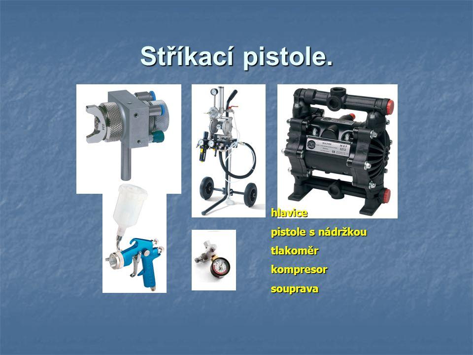 Stříkací pistole. hlavice pistole s nádržkou tlakoměr kompresor