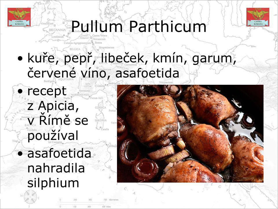 Pullum Parthicum kuře, pepř, libeček, kmín, garum, červené víno, asafoetida. recept z Apicia, v Římě se používal.