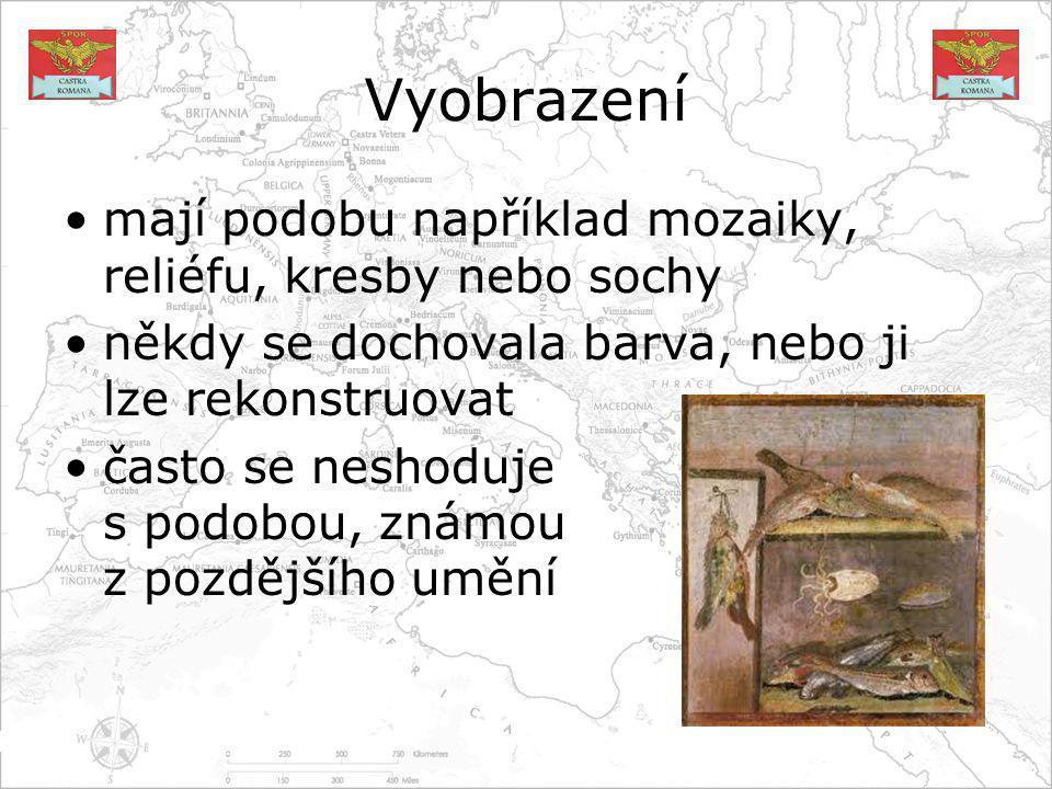 Vyobrazení mají podobu například mozaiky, reliéfu, kresby nebo sochy