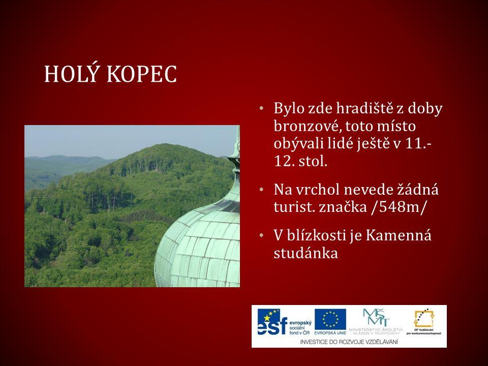 Holý kopec Bylo zde hradiště z doby bronzové, toto místo obývali lidé ještě v 11.- 12. stol. Na vrchol nevede žádná turist. značka /548m/