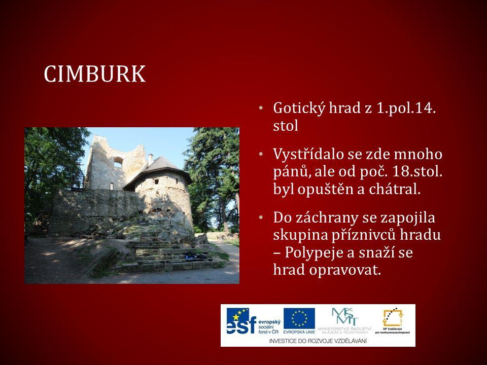 Cimburk Gotický hrad z 1.pol.14. stol