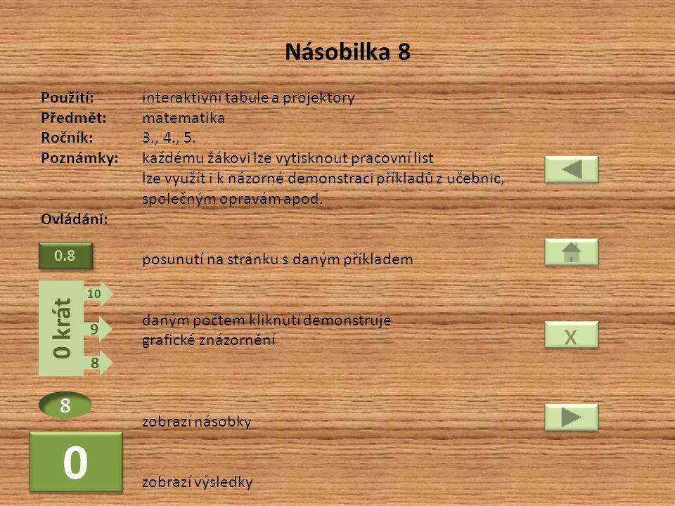x Násobilka 8 0 krát 8 Použití: interaktivní tabule a projektory