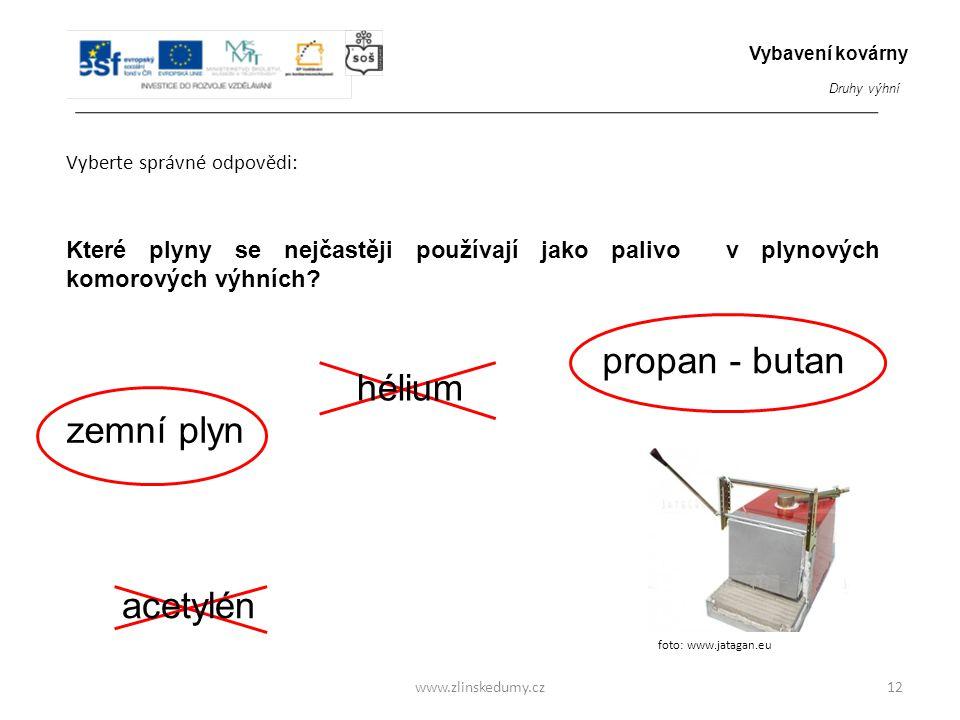 propan - butan hélium zemní plyn acetylén