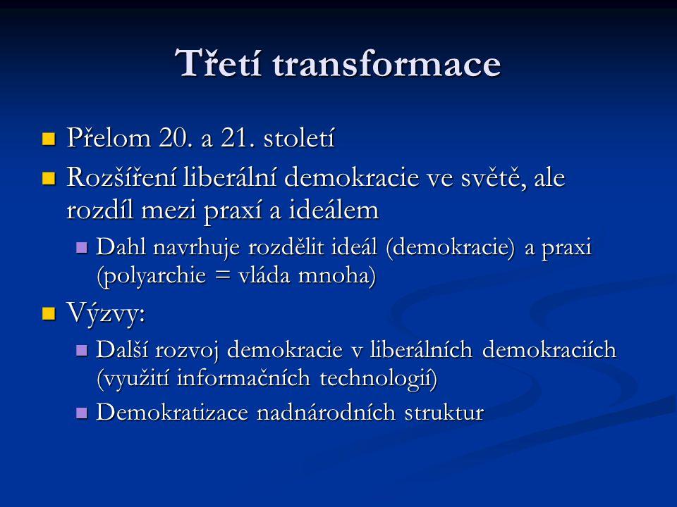 Třetí transformace Přelom 20. a 21. století