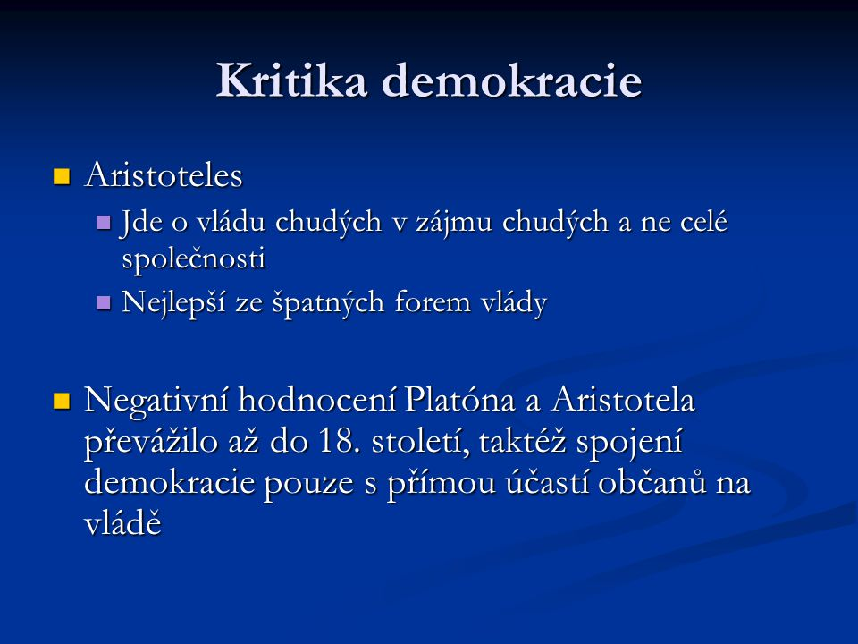Kritika demokracie Aristoteles
