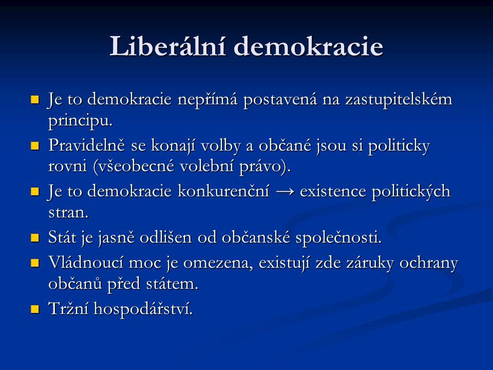 Liberální demokracie Je to demokracie nepřímá postavená na zastupitelském principu.