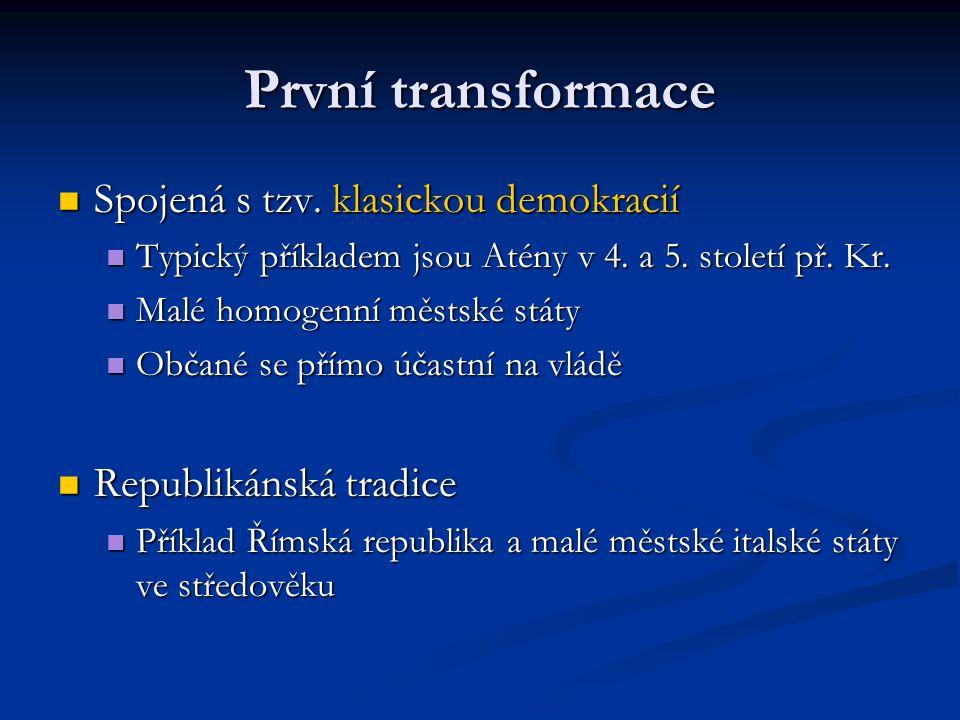První transformace Spojená s tzv. klasickou demokracií