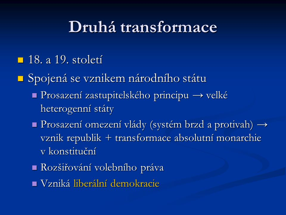 Druhá transformace 18. a 19. století