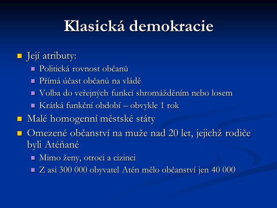 Klasická demokracie Její atributy: Malé homogenní městské státy