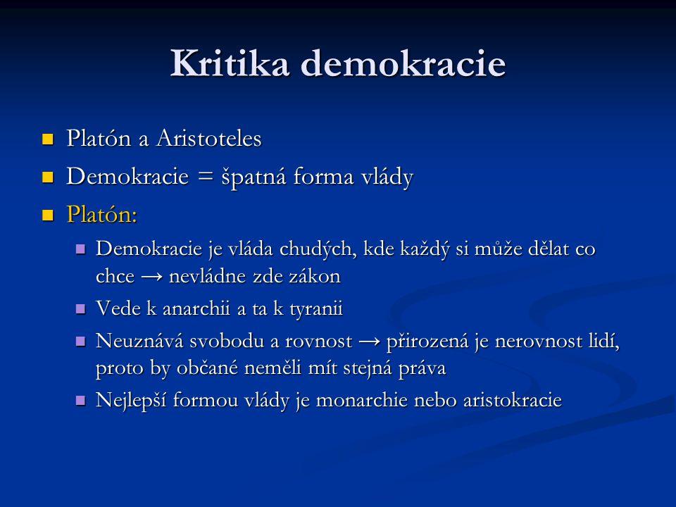 Kritika demokracie Platón a Aristoteles
