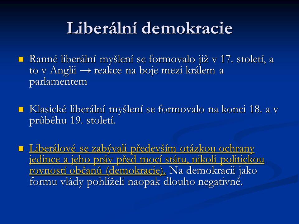 Liberální demokracie Ranné liberální myšlení se formovalo již v 17. století, a to v Anglii → reakce na boje mezi králem a parlamentem.