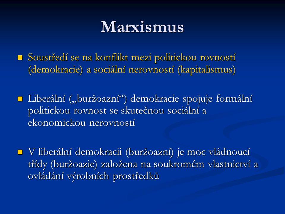 Marxismus Soustředí se na konflikt mezi politickou rovností (demokracie) a sociální nerovností (kapitalismus)