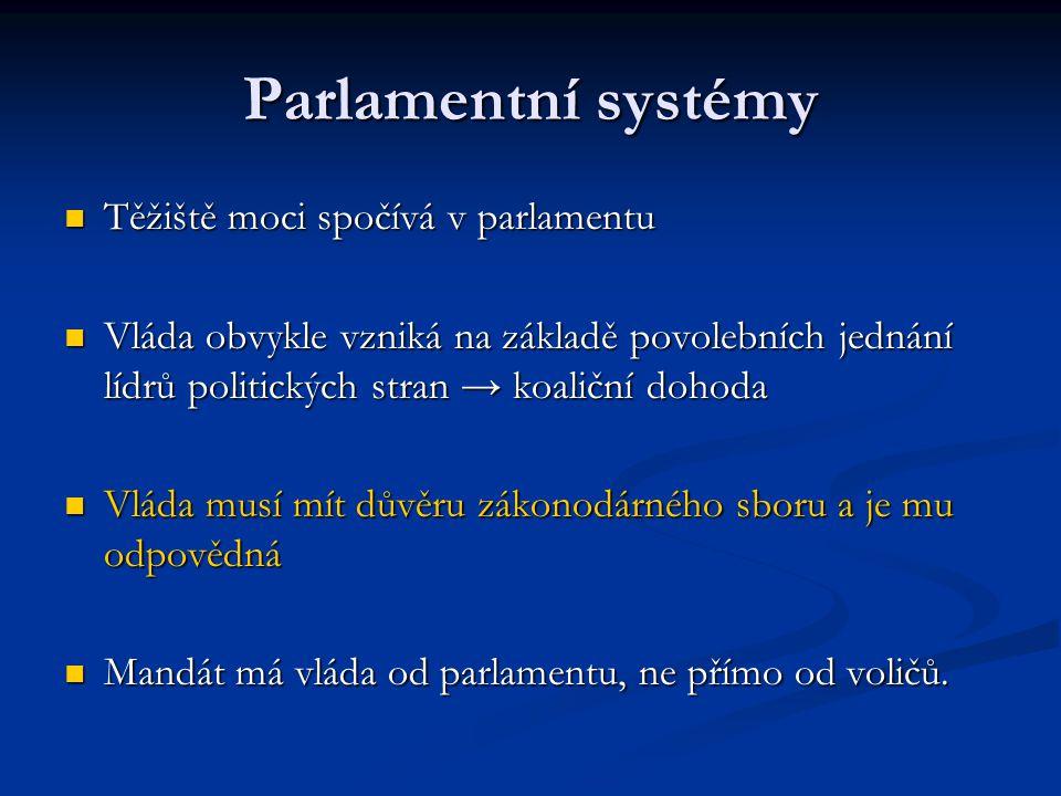 Parlamentní systémy Těžiště moci spočívá v parlamentu