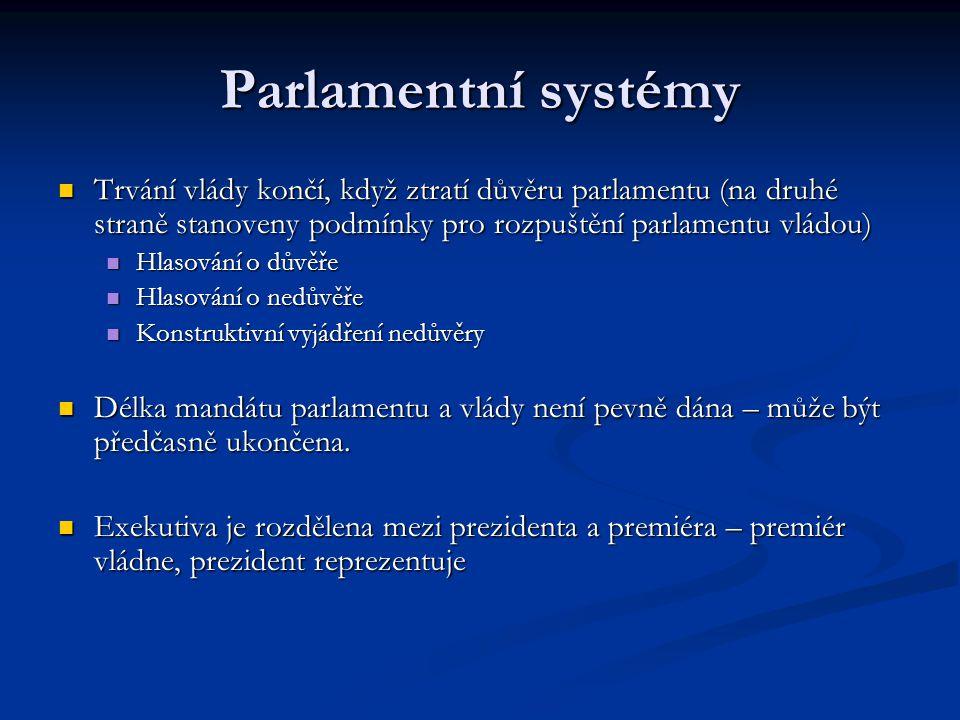 Parlamentní systémy Trvání vlády končí, když ztratí důvěru parlamentu (na druhé straně stanoveny podmínky pro rozpuštění parlamentu vládou)
