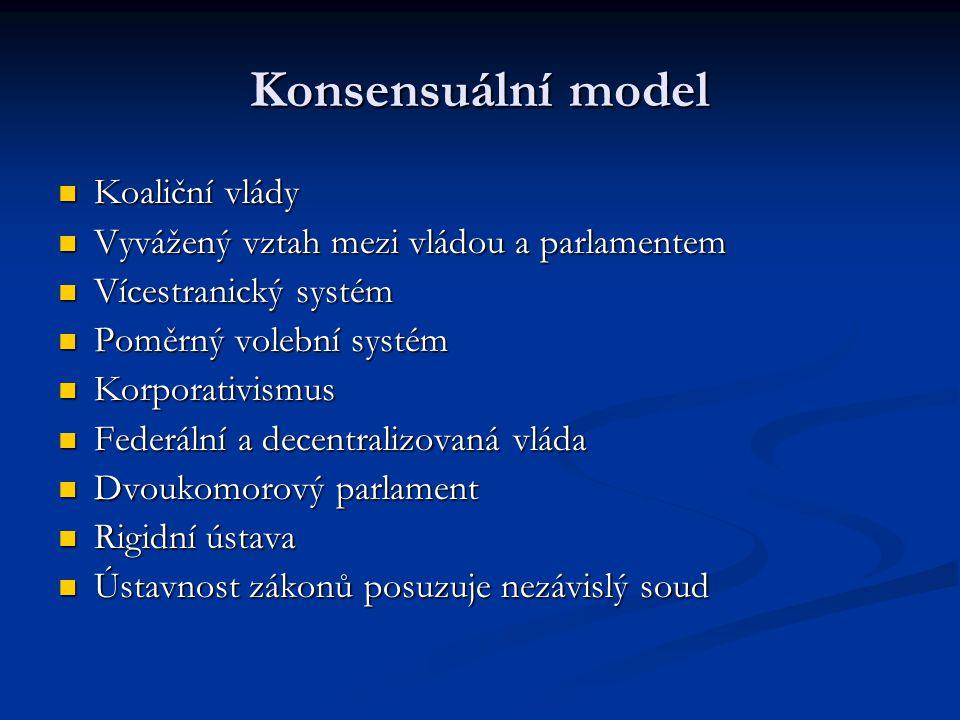 Konsensuální model Koaliční vlády
