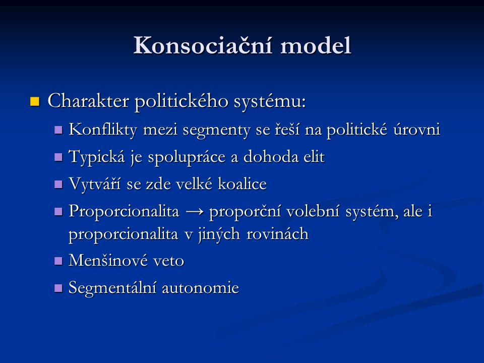 Konsociační model Charakter politického systému: