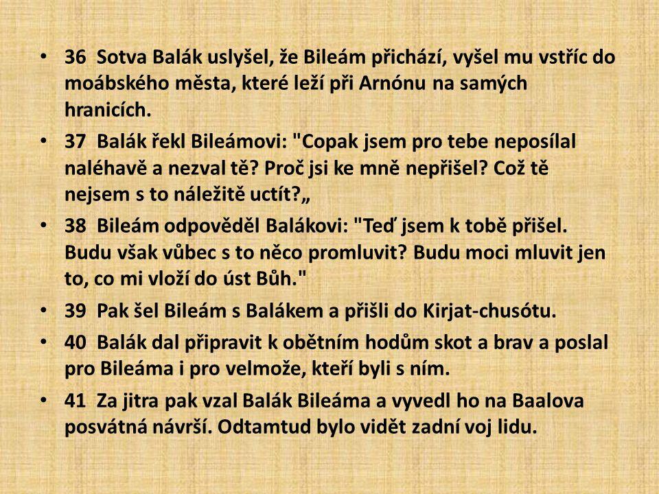 36 Sotva Balák uslyšel, že Bileám přichází, vyšel mu vstříc do moábského města, které leží při Arnónu na samých hranicích.