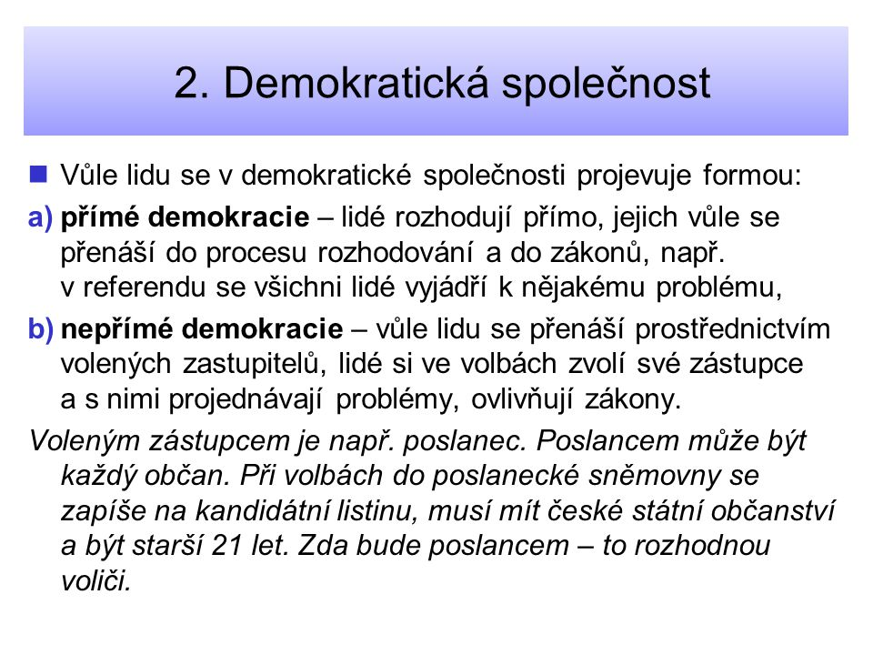 2. Demokratická společnost