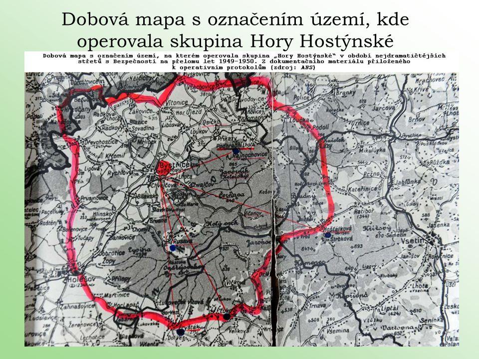 Dobová mapa s označením území, kde operovala skupina Hory Hostýnské
