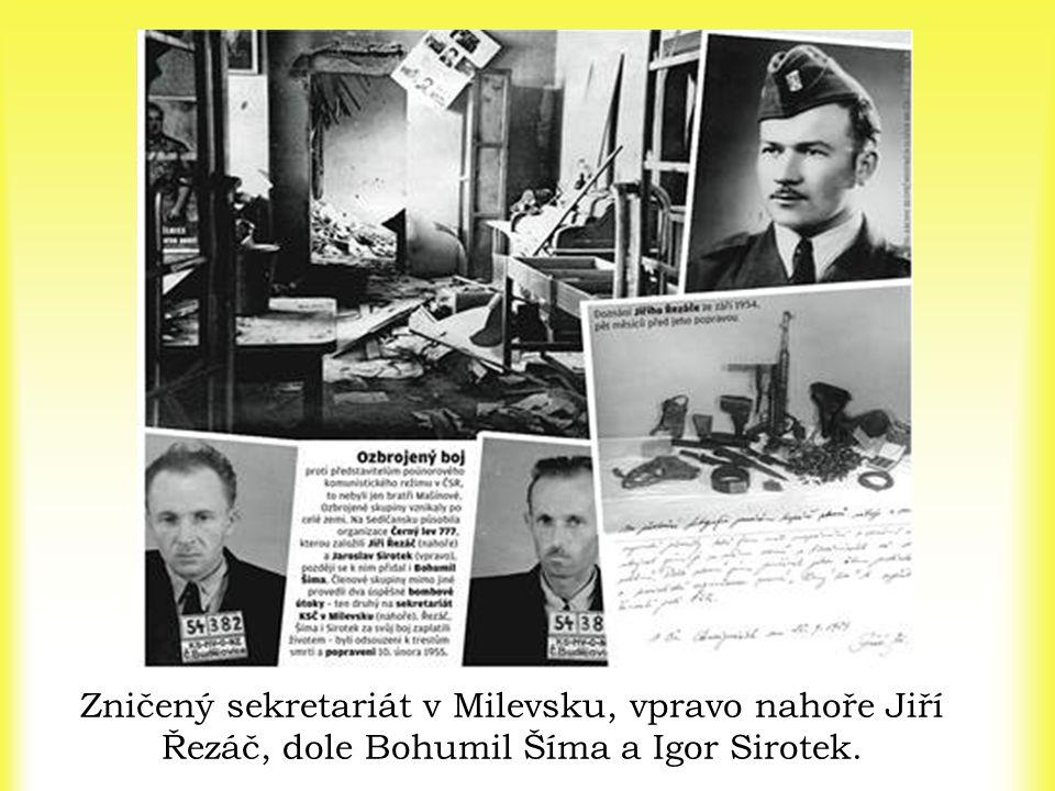 Zničený sekretariát v Milevsku, vpravo nahoře Jiří Řezáč, dole Bohumil Šíma a Igor Sirotek.