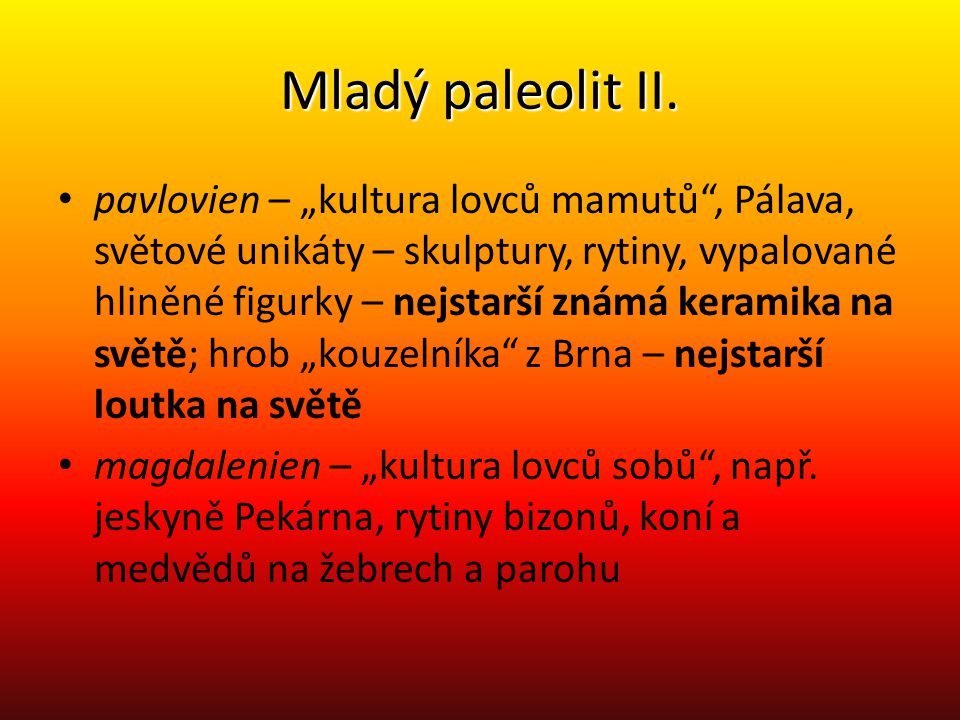 Mladý paleolit II.