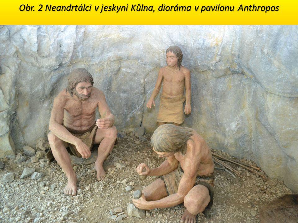 Obr. 2 Neandrtálci v jeskyni Kůlna, dioráma v pavilonu Anthropos