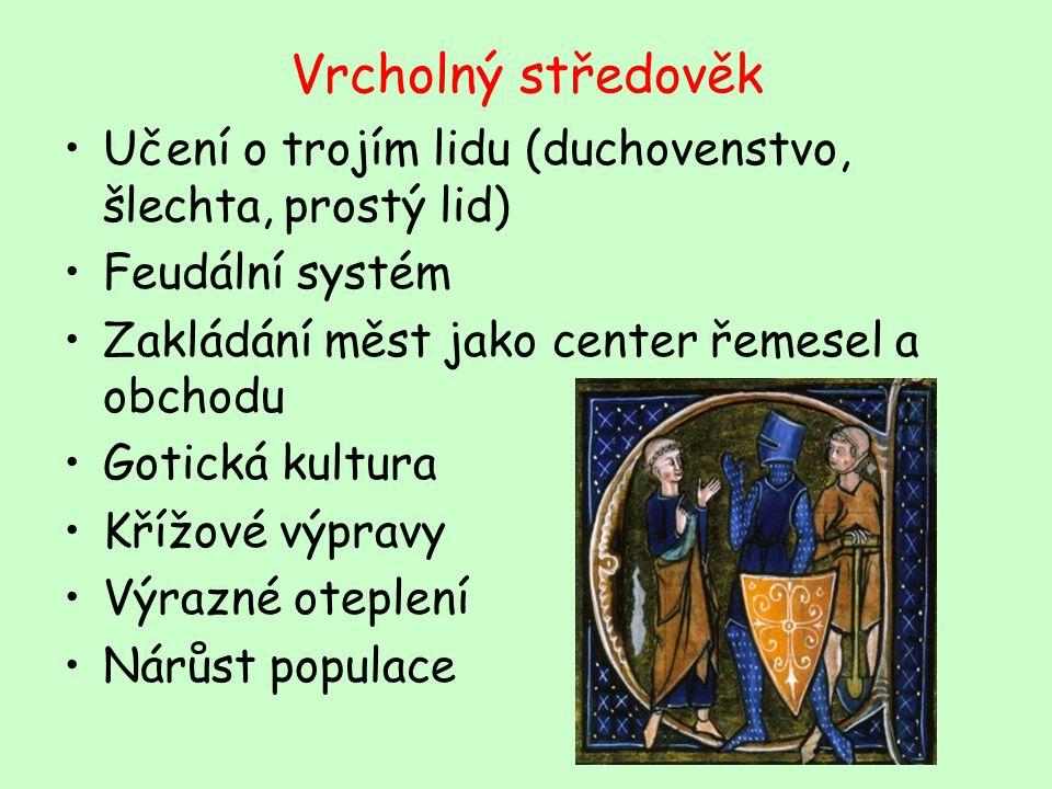 Vrcholný středověk Učení o trojím lidu (duchovenstvo, šlechta, prostý lid) Feudální systém. Zakládání měst jako center řemesel a obchodu.
