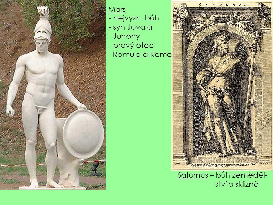 Mars nejvýzn. bůh syn Jova a Junony pravý otec Romula a Rema Saturnus – bůh zeměděl- ství a sklizně