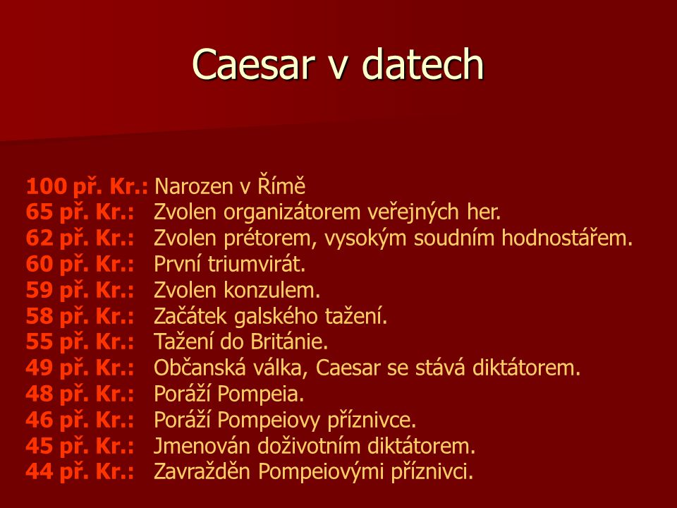 Caesar v datech