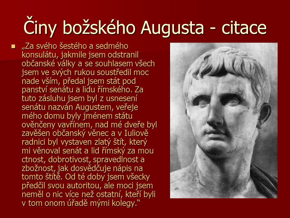 Činy božského Augusta - citace