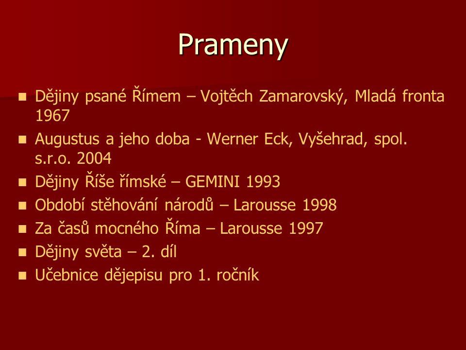 Prameny Dějiny psané Římem – Vojtěch Zamarovský, Mladá fronta 1967
