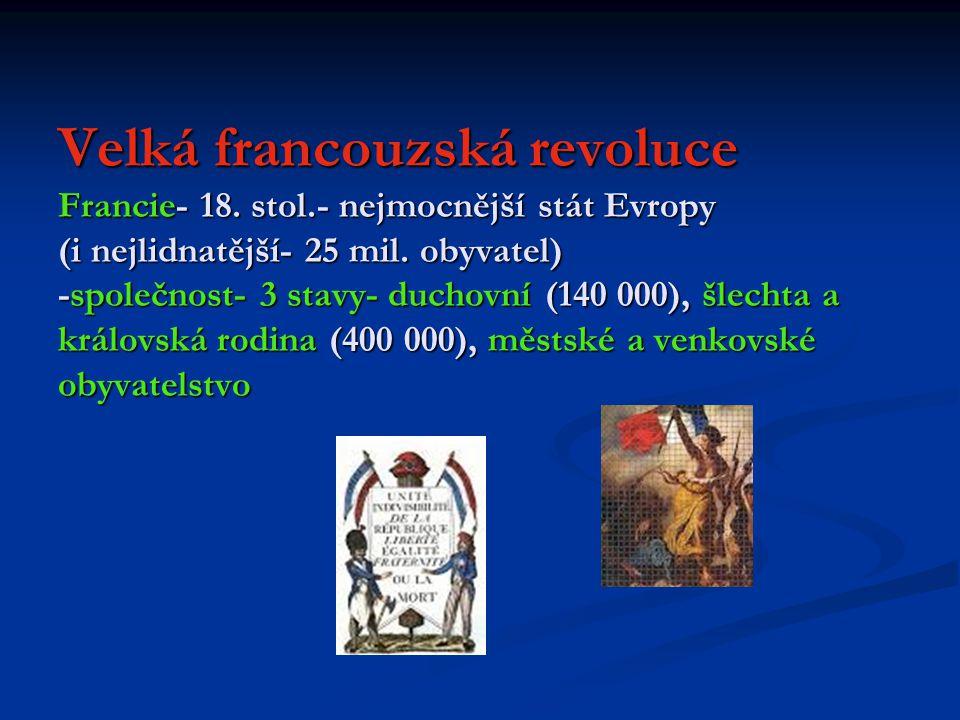 Velká francouzská revoluce Francie- 18. stol