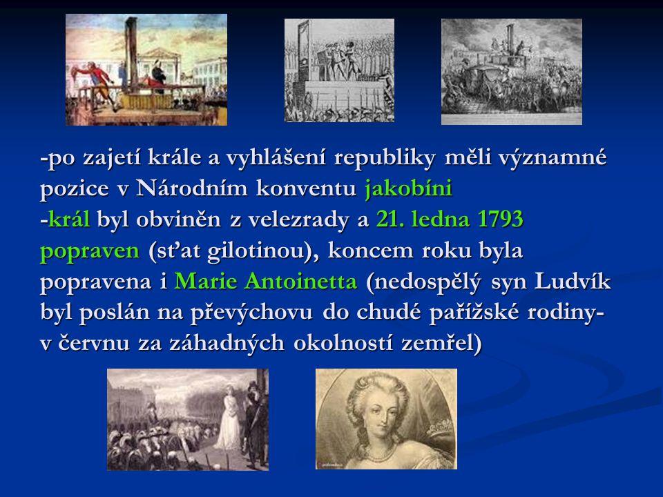 -po zajetí krále a vyhlášení republiky měli významné pozice v Národním konventu jakobíni -král byl obviněn z velezrady a 21.