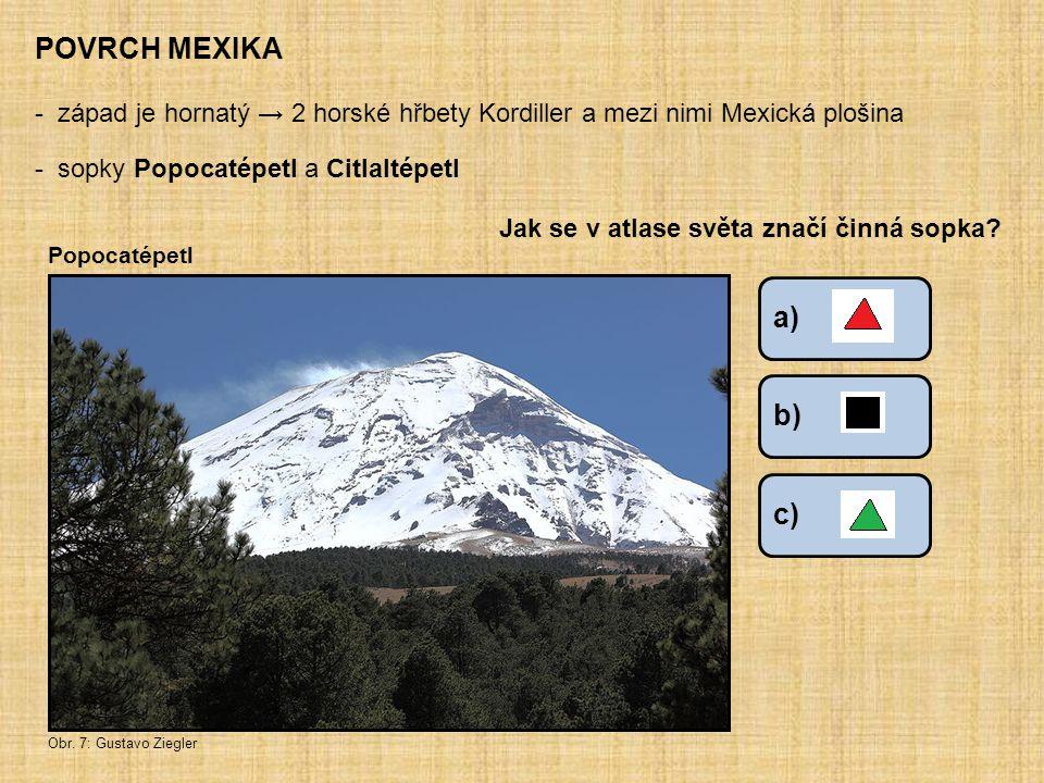 POVRCH MEXIKA západ je hornatý → 2 horské hřbety Kordiller a mezi nimi Mexická plošina. sopky Popocatépetl a Citlaltépetl.