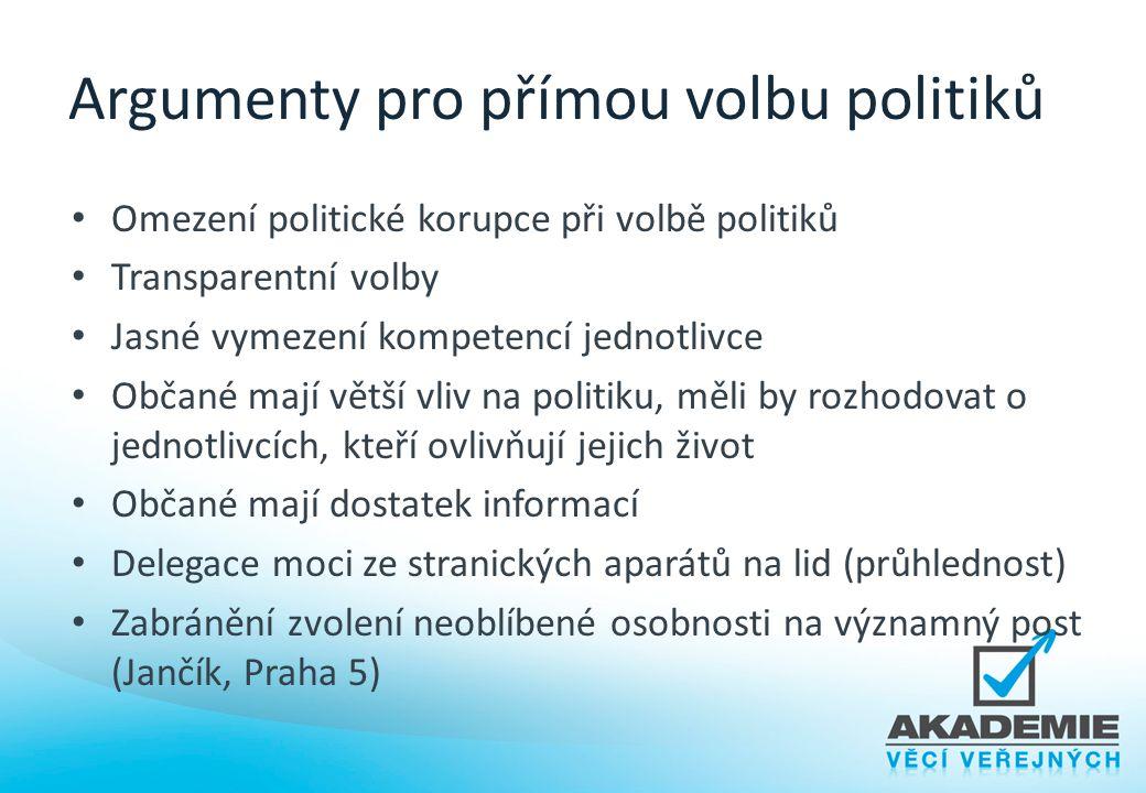 Argumenty pro přímou volbu politiků