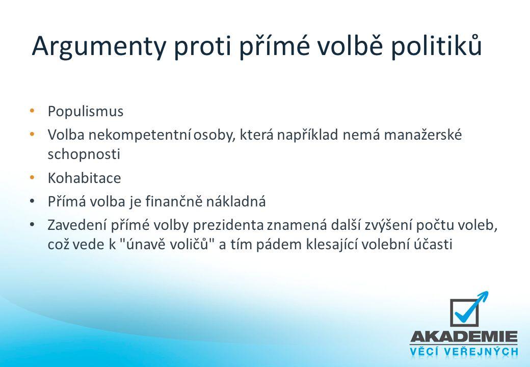 Argumenty proti přímé volbě politiků