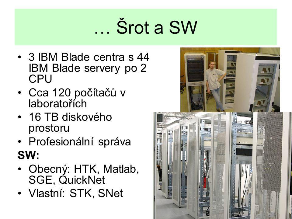 … Šrot a SW 3 IBM Blade centra s 44 IBM Blade servery po 2 CPU
